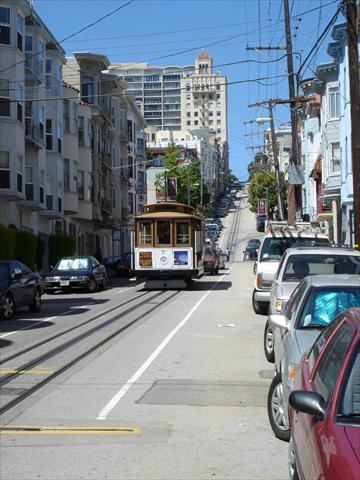 Cable car moving uphill