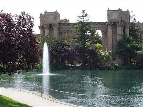 Lake with fountain in front of...