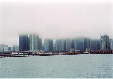 Skyline partly hidden in fog